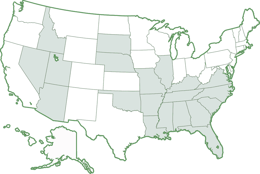 United States map of ratification